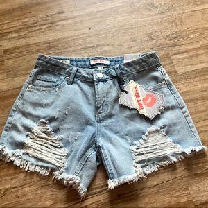 NWT Distressed Jean Shorts